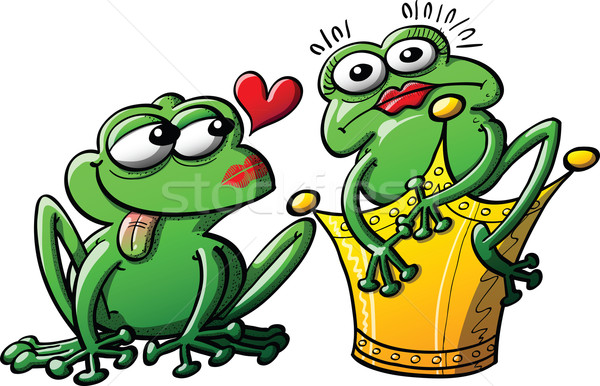 Princesse grenouille maintenant baiser crapaud coeur Photo stock © zooco