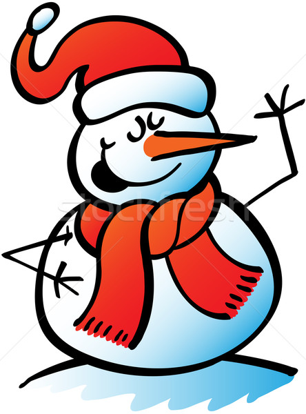 Natal boneco de neve cantando bonitinho cenoura Foto stock © zooco