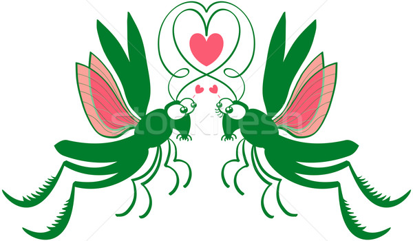 Grasshoppers deeply falling in love Stock photo © zooco