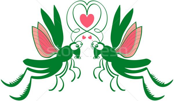 Relevant amour impressionnant couple vert sautant Photo stock © zooco