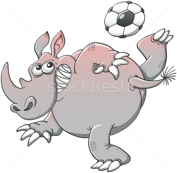 Gray rhino playing soccer with a spectacular style Stock photo © zooco
