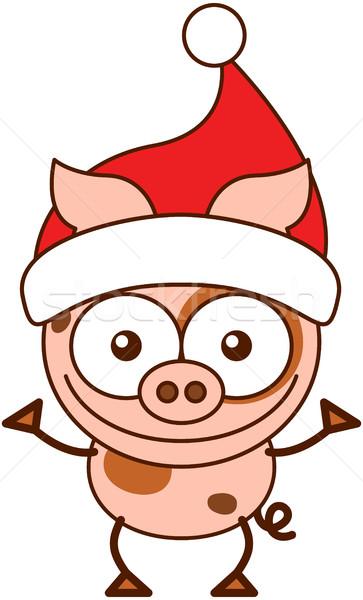 Cute pig wearing Santa hat and celebrating Christmas Stock photo © zooco