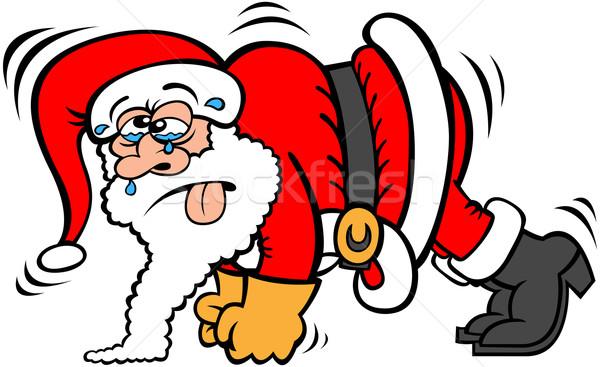 Kimerült mikulás fekvőtámasz visel piros karácsony Stock fotó © zooco