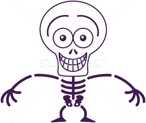 Vicces halloween csontváz vigyorog érzés megszégyenített Stock fotó © zooco