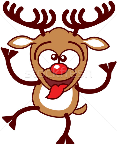 Christmas reindeer making funny faces Stock photo © zooco