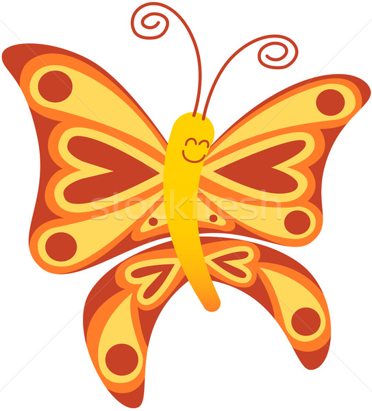 Beautiful red butterfly smiling and floating Stock photo © zooco