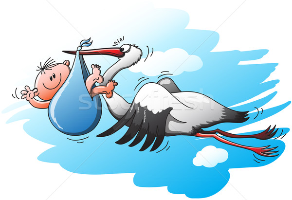 Big and beautiful stork flying to deliver a little kid in a blue bag Stock photo © zooco