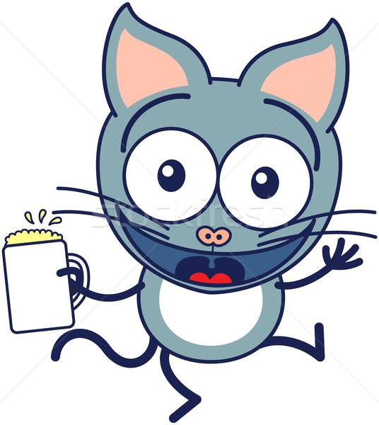 Bonitinho gato cinzento cerveja estilo Foto stock © zooco