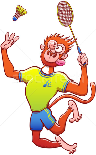 Monkey in uniform playing badminton Stock photo © zooco