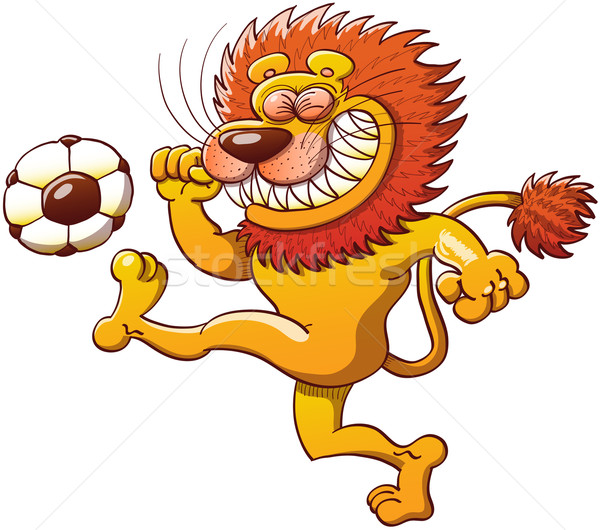 Brave lion kicking a soccer ball Stock photo © zooco