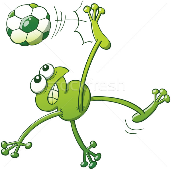 Brave frog executing an overhead kick with a soccer ball Stock photo © zooco