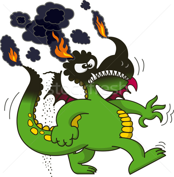 Green dragon walking angrily while burning Stock photo © zooco