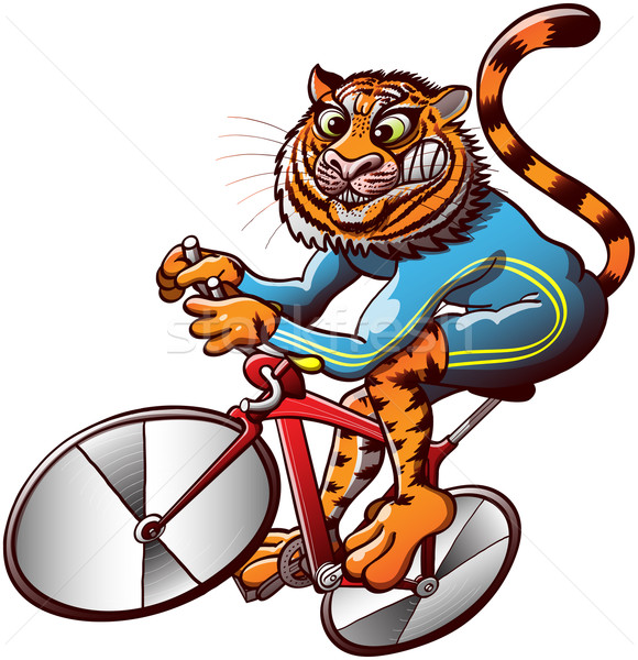 Brave Tiger Cycling in a Track Bike Racing Competition Stock photo © zooco