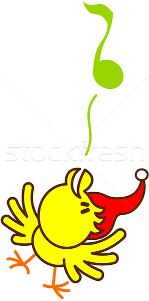 Cute yellow bird cheeping enthusiastically to celebrate Christmas Stock photo © zooco