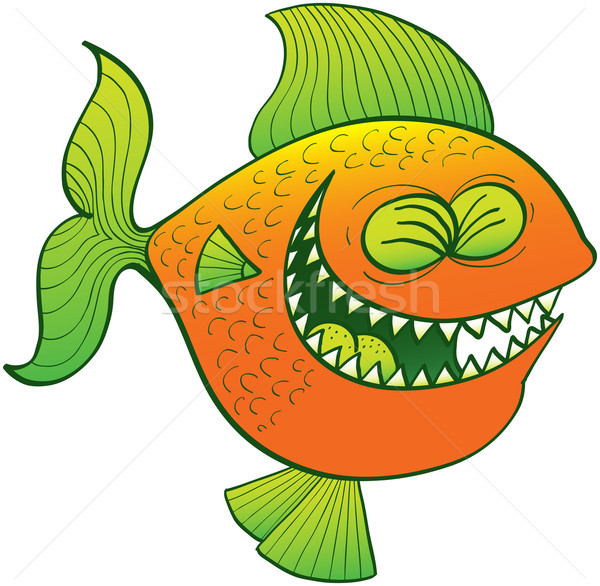 Cool poissons rire drôle orange vert Photo stock © zooco