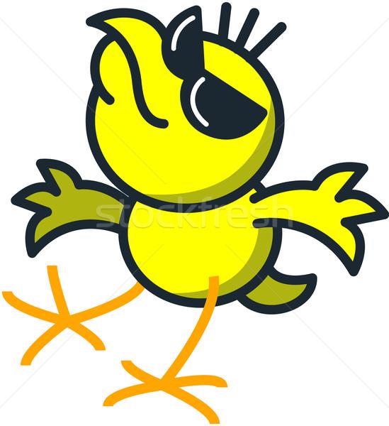 Cool kip zonnebril dansen Geel Stockfoto © zooco