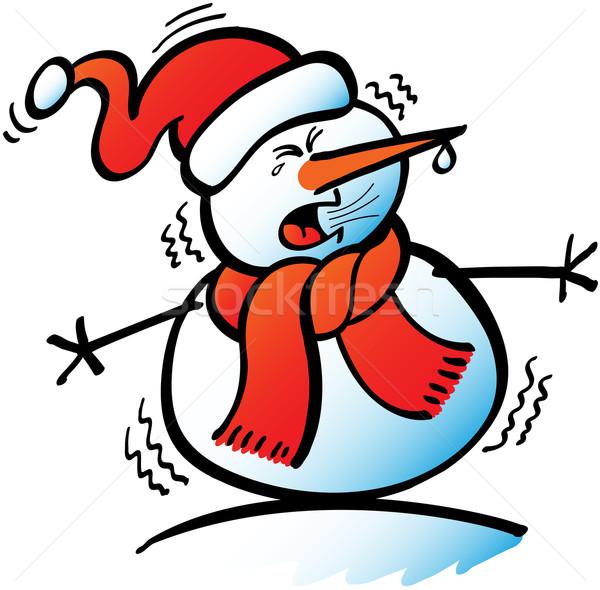 Sneezing Christmas snowman Stock photo © zooco