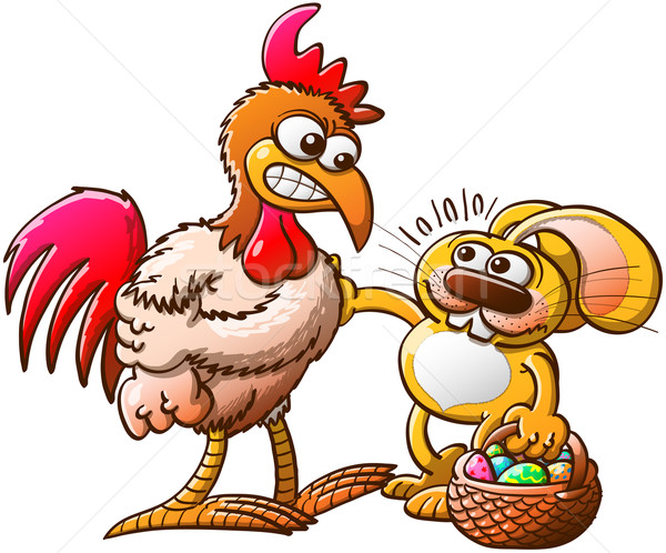 Easter Rabbit in trouble when facing a brave rooster after having stolen eggs Stock photo © zooco