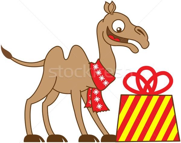 Hideg teve karácsony ajándék boldog visel Stock fotó © zooco
