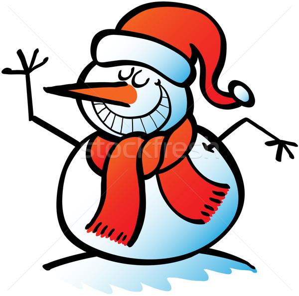Serin Noel kardan adam güzel Stok fotoğraf © zooco