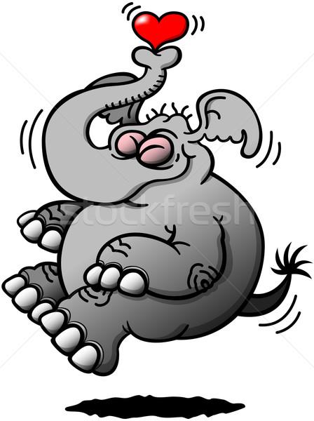 Szary słoń pływające thanks miłości pyzaty Zdjęcia stock © zooco