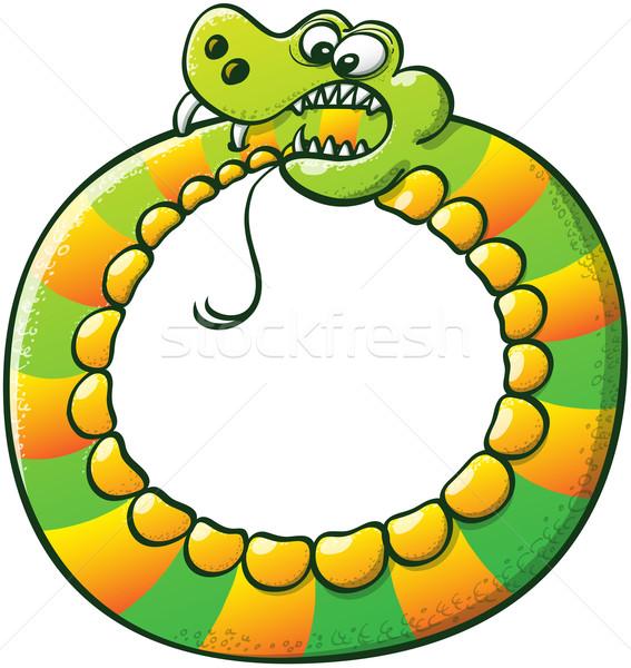 Különös kígyó harap farok kör furcsa Stock fotó © zooco