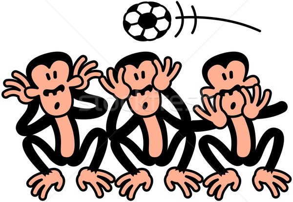 Three Wise Soccer Monkeys Stock photo © zooco