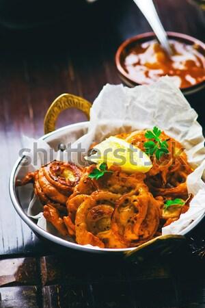 onions  bhaji with mango chutney Stock photo © zoryanchik