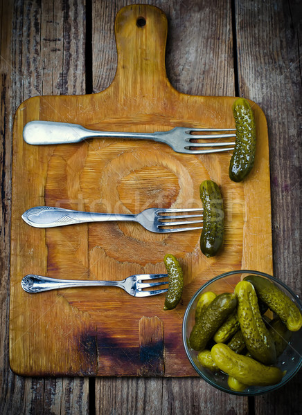 pickled cucumbers   on a fork Stock photo © zoryanchik