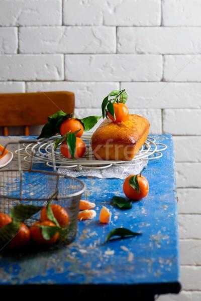 Tangerina foco comida doce delicioso Foto stock © zoryanchik