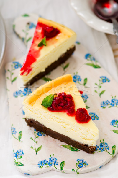 Slice of  brownie cheesecake. selective focus .the image is tinted. Stock photo © zoryanchik