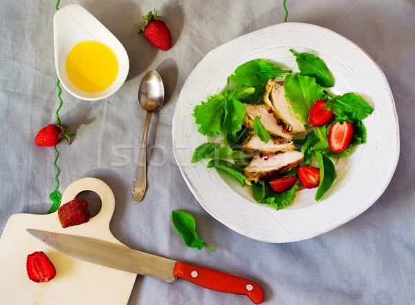 green salad with chicken and strawberry Stock photo © zoryanchik