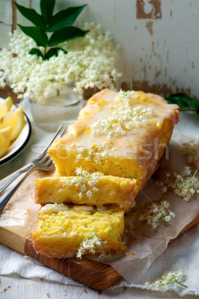 Stok fotoğraf: Limon · kek · tatlı · çiçek · lezzetli