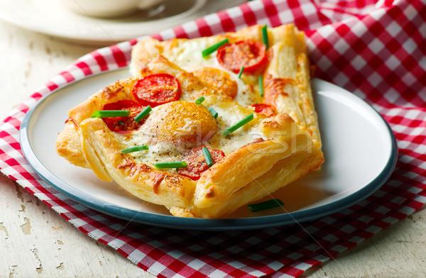 Pasta kahvaltı yumurta seçici odak arka plan et Stok fotoğraf © zoryanchik
