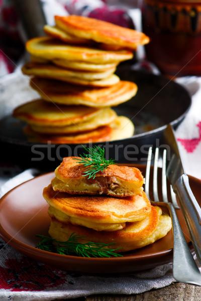 Palacsinták rusztikus étel háttér hús stílus Stock fotó © zoryanchik