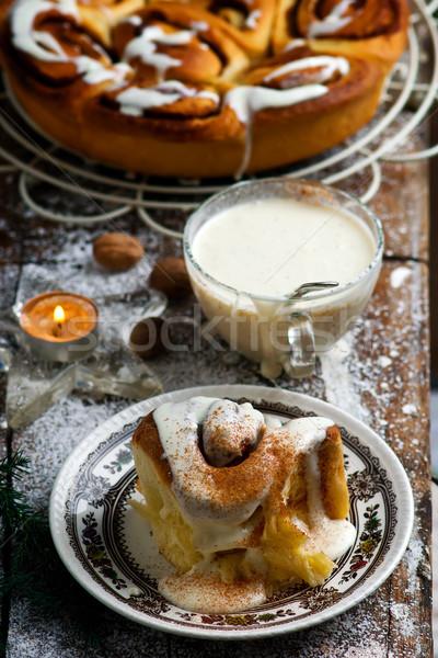 Egg Nog Cinnamon Rolls..style rustic .selective focus.  Stock photo © zoryanchik