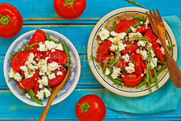 salad from green beans and tomatoes  Stock photo © zoryanchik