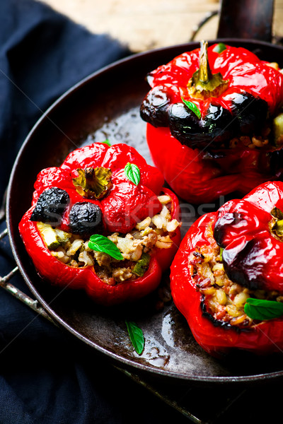 Stock photo: the sweet pepper stuffed with lamb and pearl barley