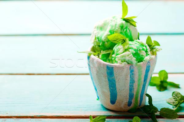 自家製 ミント アイスクリーム ケーキ スタイル ヴィンテージ ストックフォト © zoryanchik