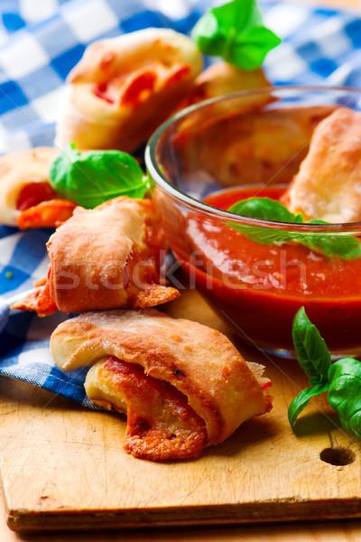 Pizza tomatensaus selectieve aandacht diner Rood Stockfoto © zoryanchik