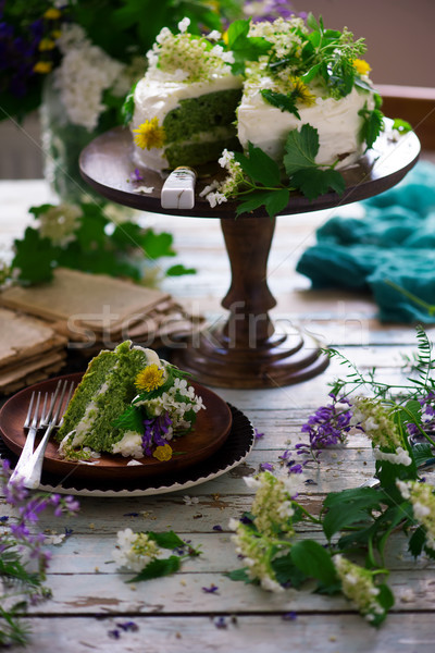 NETTLE AND LEMON CAKE WITH LEMON ICING.food gathering Stock photo © zoryanchik