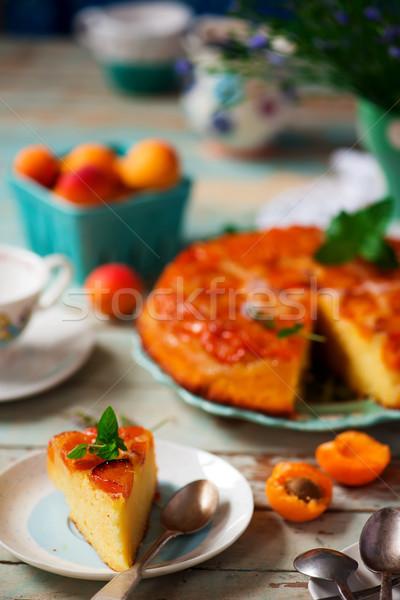 Apricot upside dawn cake.style rustic. Stock photo © zoryanchik