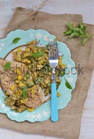 Espargos risotto sol comida arroz Foto stock © zoryanchik
