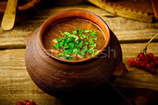 shchi, traditional Russian soup from cabbage.  Stock photo © zoryanchik