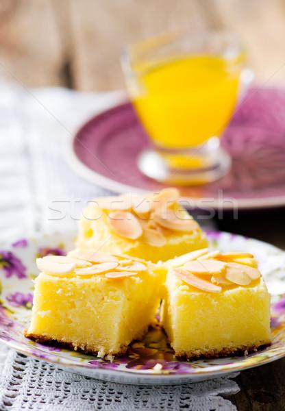 Olasz túró torta szelektív fókusz narancs tányér Stock fotó © zoryanchik