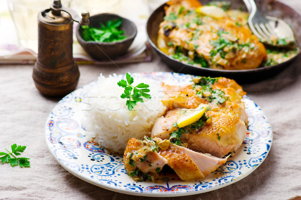 Stock photo: chicken with lemon garlic cream sauce