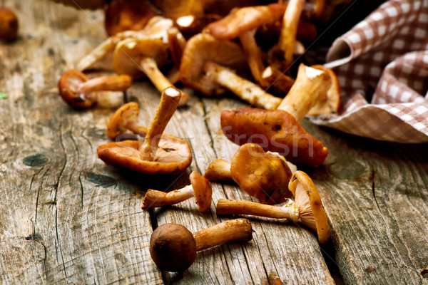 honey fungus  on an old wooden table Stock photo © zoryanchik