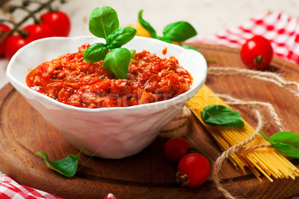 Sauce bolognese..selective focus Stock photo © zoryanchik