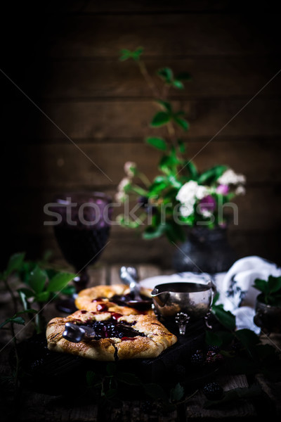 Blackberry Galette with Red Wine Sauce.style rustic Stock photo © zoryanchik