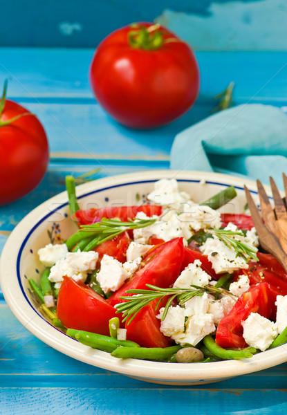 沙拉 綠豆 蕃茄 食品 綠色 午餐 商業照片 © zoryanchik
